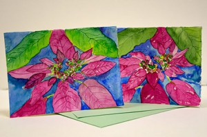 """Poinsettia Cards"" Structure: Folio; Materials: Water Color and Paper"