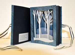 """Winter"" Structure: Modified Tunnel Book; Materials: Paste paper, etc."