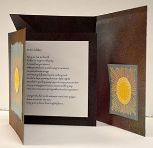 """Winter Solstice"" Structure: Folio; Materials: Printed and sewn on decorated paper"